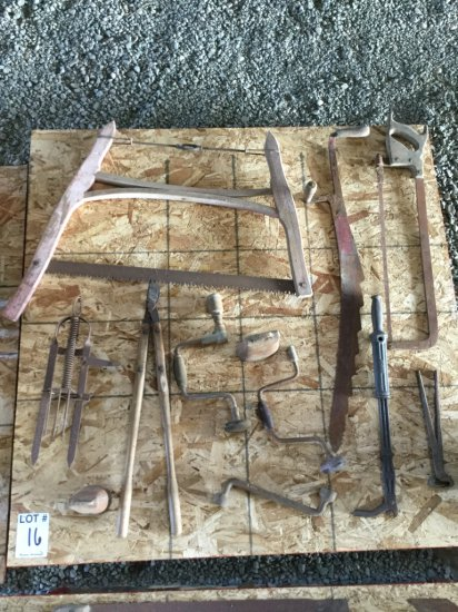 Pallet with Antique Bow Saw, Hay Saw, Hoof Nippers.