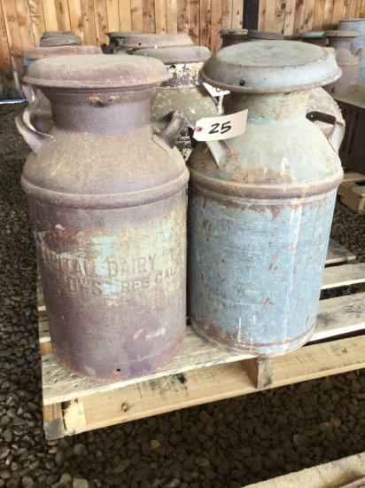 Lot of (2) Antique 10 Gallon Milk Cans