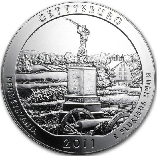 "2011 -5oz GETTYSBURG .999 Silver ""Puck"" Coin"