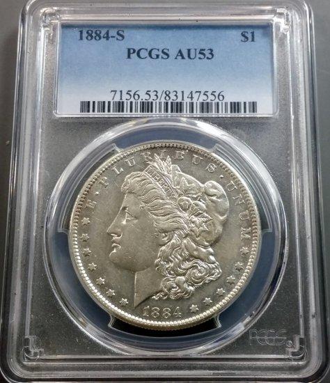 1884-S Morgan Silver Dollar (PCGS au-53)