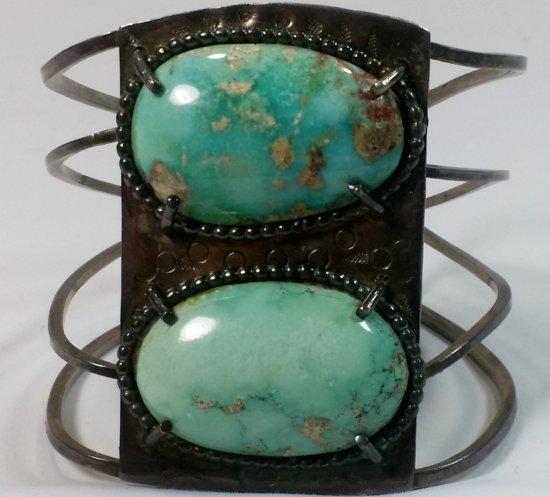 Pre-War NAVAJO Silver & Turquoise SILVER BRACELET (67g)