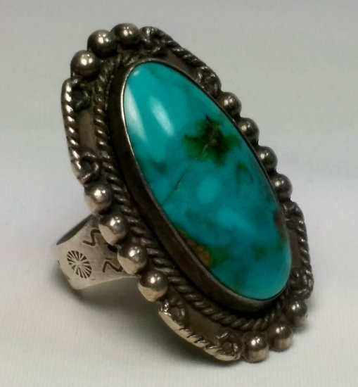 Pre-War Native American Turquoise Ring (sz 5)
