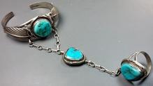 Navajo Silver & Turquoise Slave Bracelet -OLD PAWN