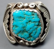LARGE Sterling & Turquoise OLD PAWN Ring (sz.12)