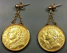2x Gold Coin Earrings !!