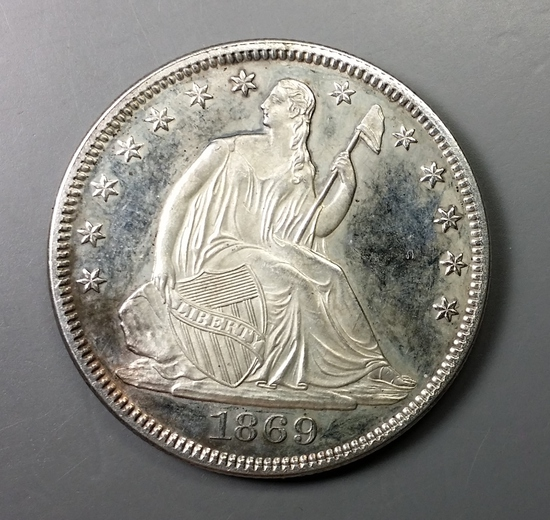 1869 Seated PROOF Half-Dollar -TONED