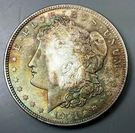 1921-p Morgan Dollar -TONED Obv