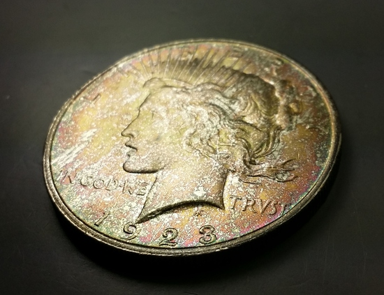 1923-P Peace Silver Dollar -MONSTER TONED