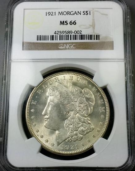 1921-p Morgan Silver Dollar -NGC ms66