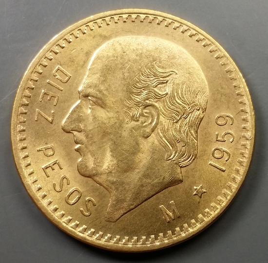 1959 Mexico 10 Peso GOLD