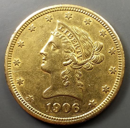 1906-d $10 US GOLD Liberty Head Eagle