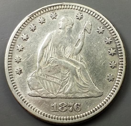 1876-P Seated Liberty QUARTER