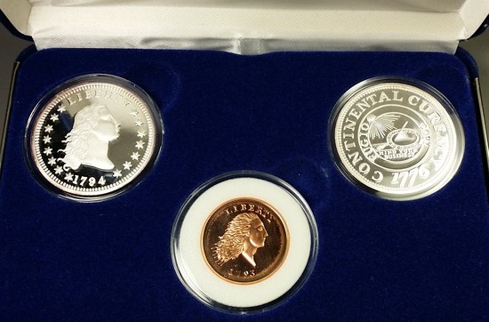 Silver 1776/1794 Tribute Proof Set W/COA from National Collector's Mint in Display box (.999)