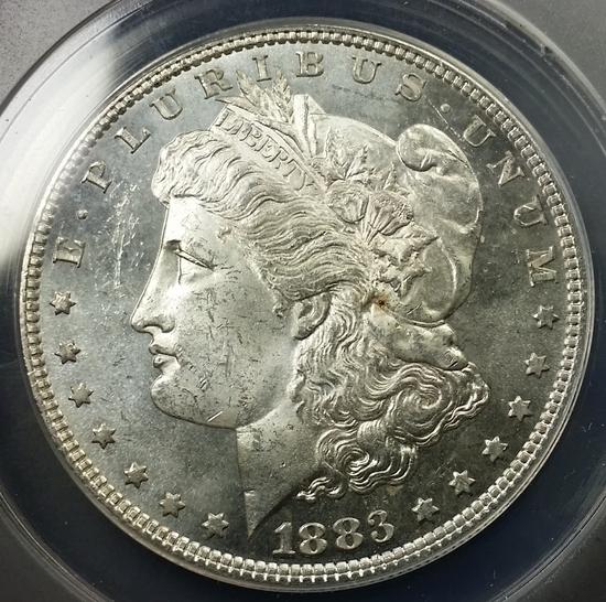 1883-p Morgan Dollar -ANACS ms62 PL