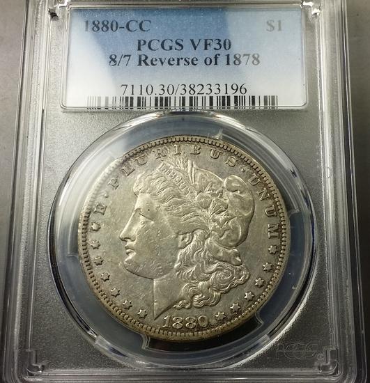 1880/79-CC (rev 78) Morgan Dollar -PCGS vf30