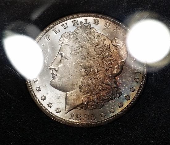 1883-CC Morgan Dollar GSA -RAINBOW TONED