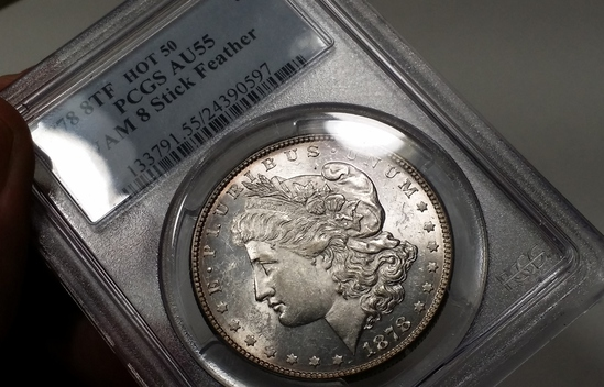 "1878p 8TF Morgan Dollar ""Stick Feather"" -PCGS au55"