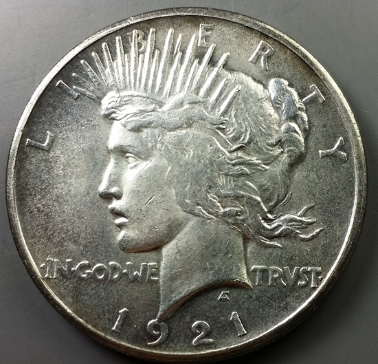 1921 Peace Silver Dollar -TONED