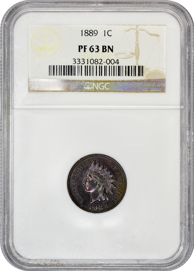 1889 PROOF Indian Head Cent (NGC pf63BN) -RAINBOW TONED