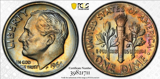 1966 (SMS) Roosevelt Dime PCGS SP66 -TONED