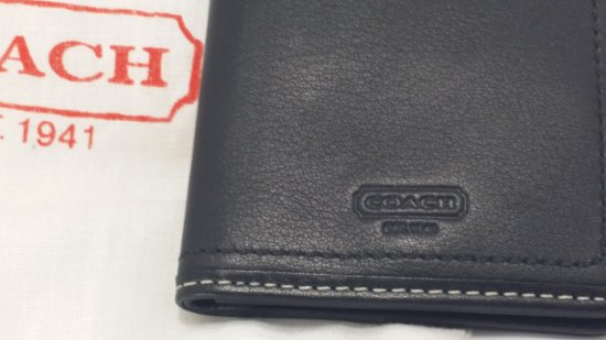 COACH Photo/ID Wallet (Black Leather)