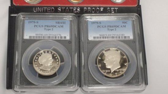 1979-s Proof Set TYPE-2 w/ PCGS PR-69 S.B.A. & Kennedy Coins
