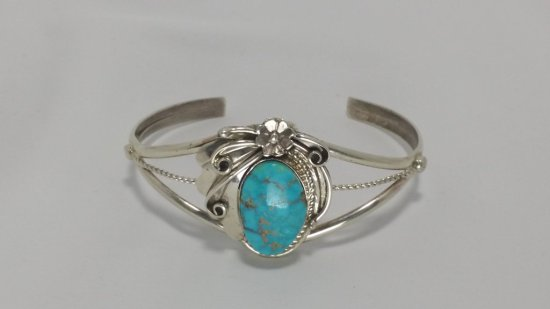 Sterling Silver & Turquoise Nugget Cuff Bracelet
