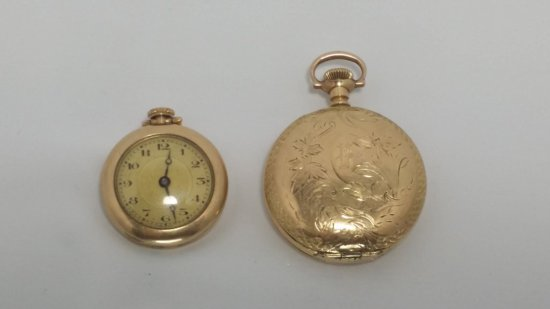 2x Antique Gold-Filled Pocket Watches