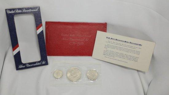 3pc. Uncirculated SILVER Bicentennial COIN SET