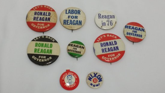 Vintage RONALD REGAN Campaign PINS/BUTTONS Lot (Gubernatorial)