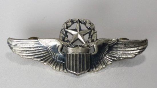 "Lrg 3"" Sterling Silver Pilots Wings (8th AF Pilot)"