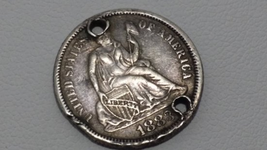 """1888 Seated Dime """"Love Token"""""""