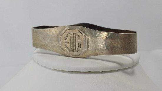 Antique Sterling Silver Hand-Hammered Cigar Pocket Ring-Case