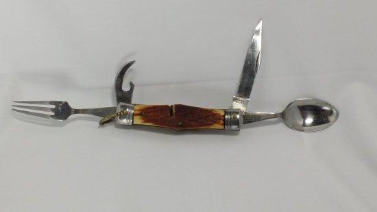 Antique Hobo / Camping Pocket Knife w/ Fork & Spoon!