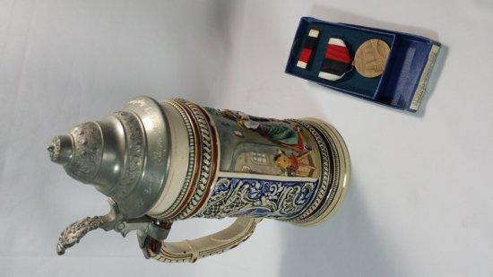 1946 WWII Occupation GERMAN BEER STEIN Engraved by 8th AF Pilot & Medal