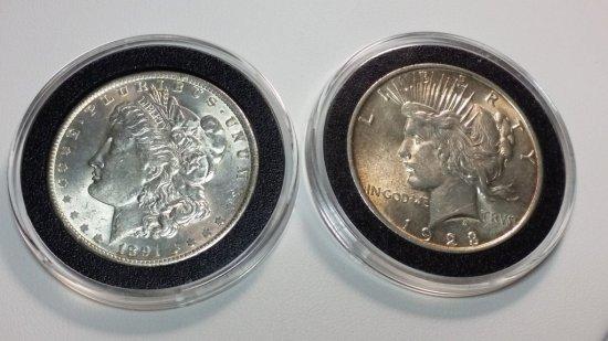 1891-p MORGAN & 1923-p PEACE DOLLAR
