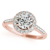 CERTIFIED 18K ROSE GOLD 1.22 CT G-H/VS-SI1 DIAMOND HALO ENGAGEMENT RING