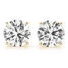 CERTIFIED 0.4 CTW ROUND D/I1 DIAMOND SOLITAIRE EARRINGS IN 14K YELLOW GOLD