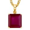 1.3 CTW RUBY 10K SOLID YELLOW GOLD SQUARE SHAPE PENDANT