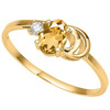0.84 CT DARK CITRINE AND ACCENT DIAMOND 0.01 CT 10KT SOLID YELLOW GOLD RING
