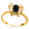 0.6 CT BLACK SAPPHIRE AND ACCENT DIAMOND 0.005 CT 10KT SOLID YELLOW GOLD RING