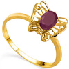 0.57 CT RUBY AND ACCENT DIAMOND 0.005 CT 10KT SOLID YELLOW GOLD RING