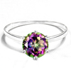 0.8 CT RAINBOW MYSTIC QUARTZ 10KT SOLID WHITE GOLD RING