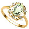 1.01 CT GREEN AMETHYST AND ACCENT DIAMOND 0.02 CT 10KT SOLID YELLOW GOLD RING