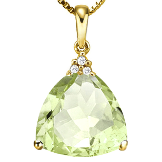 0.57 CTW GREEN AMETHYST 10K SOLID YELLOW GOLD TRILLION SHAPE PENDANT WITH ANCENT DIAMONDS