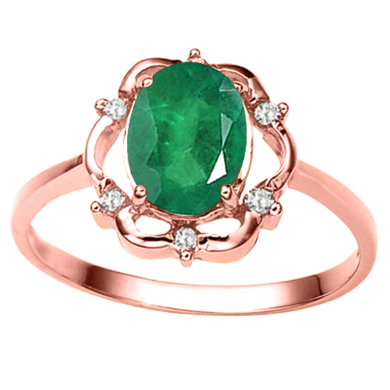 1.17 CT EMERALD AND ACCENT DIAMOND 0.02 CT 10KT SOLID RED GOLD RING