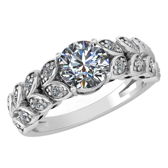 Certified 1.47 Ctw Diamond Wedding/Engagement Style 14K White Gold Halo Ring (SI2/I1)