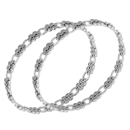 Certified 1.80 Ctw Diamond VS/SI1 Bangles 14K White Gold Made In USA