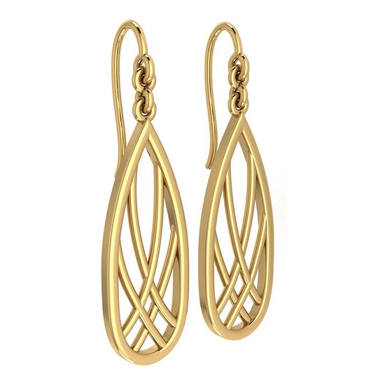 Gold Wire Hook Earrings 18K Yellow Gold Made In Italy
