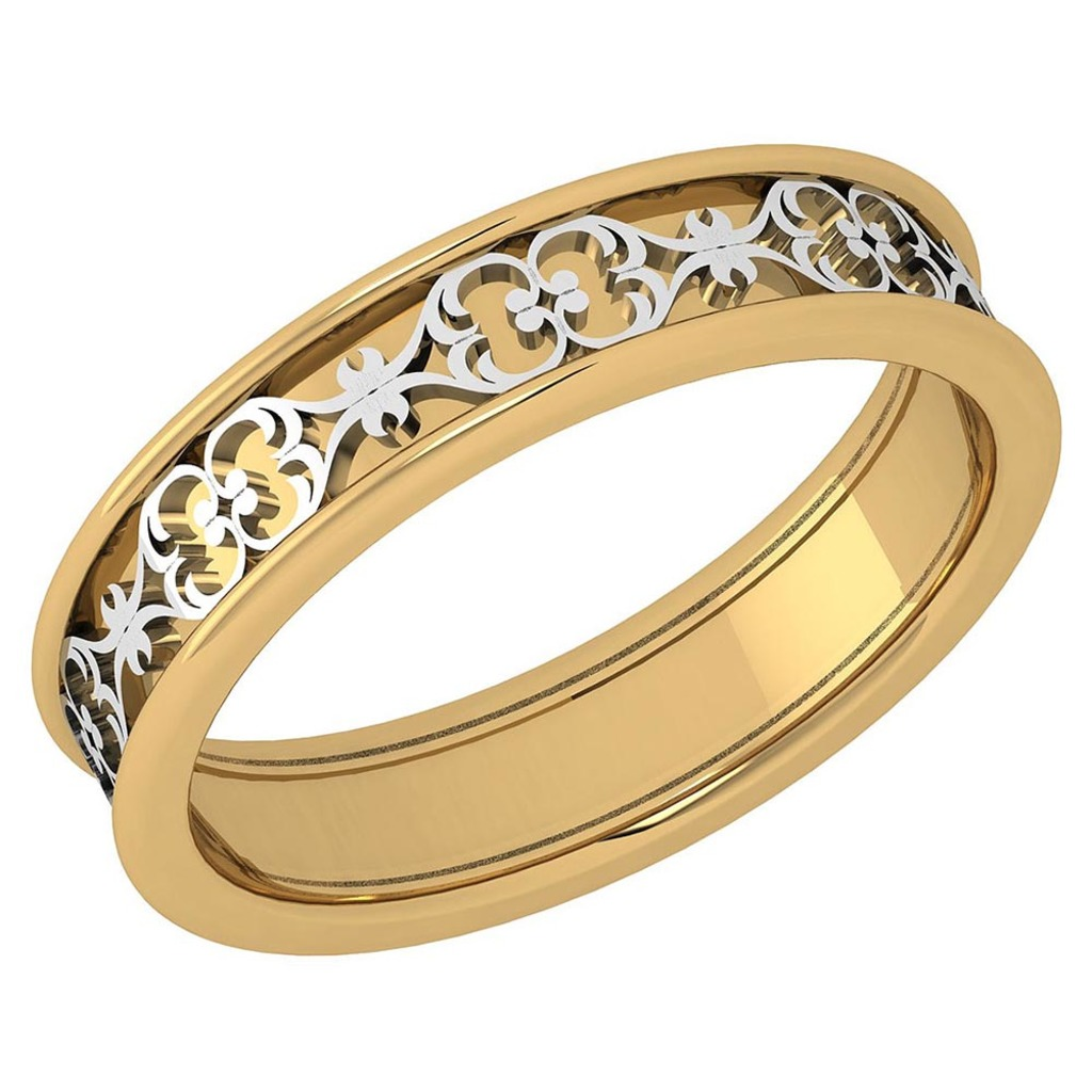 Stunning Filigree Engagement Band 18K Yellow And White Gold MADE IN ITALY